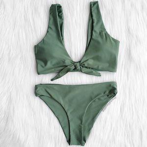 ❤️SALE❤️ Army green knot tie cheeky bikini